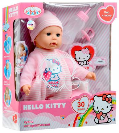 Пупс Карапуз Hello Kitty 35 см в розовом, 30 звуков, пьет и писает