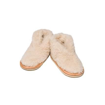 Бабуши Smart-Textile из овечьего меха на трикотажной основе бежевые, размеры 30-31