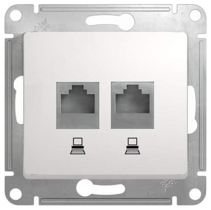 """Механизм компьютерной розетки 2-модульный """"Glossa"""", RJ45+RJ45 (белый)"""