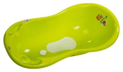 Ванна Maltex Дино 100см с пробкой и нескользящим ковриком зеленый
