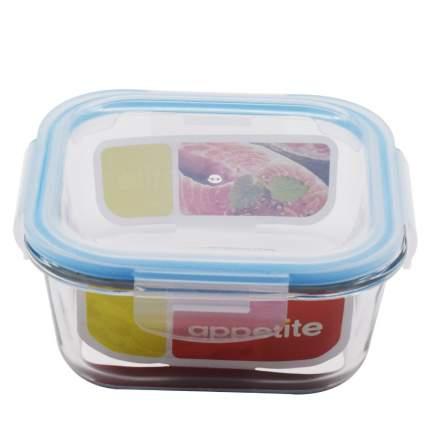 Контейнер стеклянный квадратный 800мл син ТМ Appetite