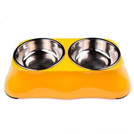 Миска для домашних животных Bobo, двойная, желтая, 150+150 мл