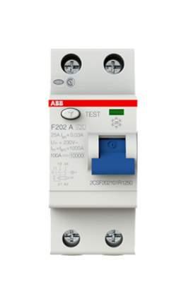 """Выключатель дифференциального тока (УЗО) ABB """"F202"""", 2п, 25 А, 30 мА, тип A"""