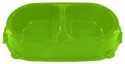 Двойная миска для кошек и собак FAVORITE, пластик, зеленый, 2 шт по 0.225 л