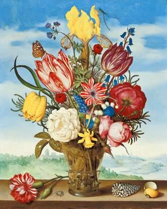 Репродукция Амброзиус Босхарт, Букет цветов на подоконнике 32х40 см