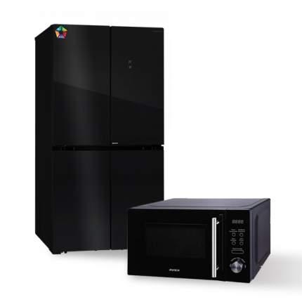 Комплект Холодильник HIBERG RFQ-550DX NFGB invertor + Микроволновая печь AVEX MW-2071 B