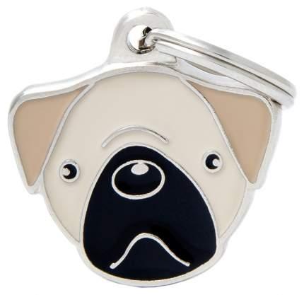 Адресник на ошейник для собак My Family Colors Мопс, палевый, средний, 2,6х2,1 см