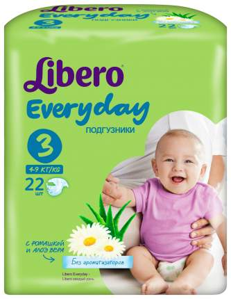 Подгузники Libero Everyday Midi 3 (4-9 кг), 22 шт.