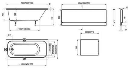 Акриловая ванна Ravak Chrome 150х70 без гидромассажа