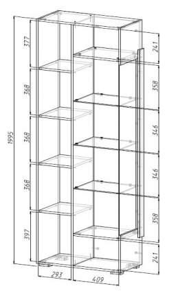 Платяной шкаф МФ Мелания MEL_2001 199,5х76,6х39,5, бетон чикаго/дуб вотан