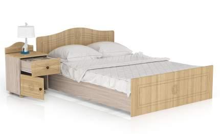 Кровать с тумбой Мебельный Двор Онега КР-1400+ТП-1 лён/ясень шимо светлый 197х204х84