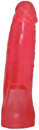 Розовый фаллос-насадка для трусиков с плугом 17 см