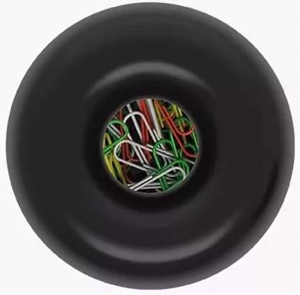 """Скрепочница магнитная Erich Krause 605, с 30 скрепками, """"бочонок"""", черная"""