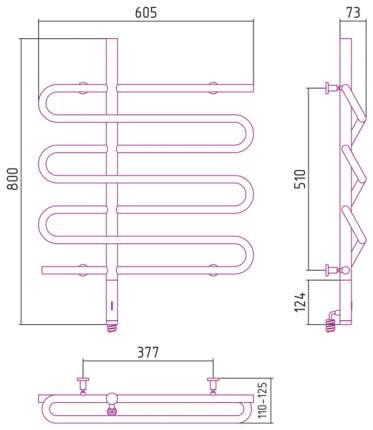 Полотенцесушитель электрический Эпатаж 800х600 Сунержа ТЭН левый