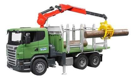 Лесовоз Bruder Scania с портативным краном и брёвнами