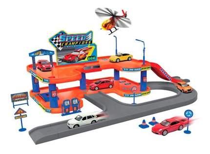 Игровой набор Welly Гараж (включает 3 машины и Вертолет) 96040