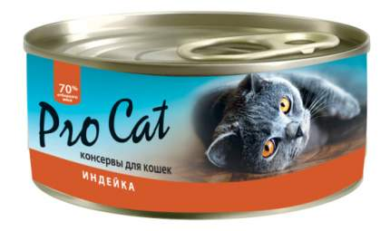 Консервы для кошек Pro Cat, индейка, 100г
