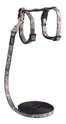 Комплект поводок и шлейка для кошек Rogz ReflectoCat XS-8мм 1,8 м (Черный CLJ240A)