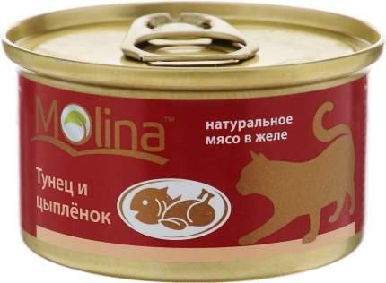 Консервы для кошек Molina, тунец, цыпленок, кусочки, 80г