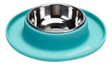 Одинарная миска для кошек и собак Beeztees, металл, силикон, серебристый, голубой, 0.3 л