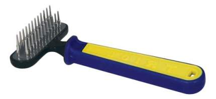 Расческа для кошек и собак Triol Спорт двухрядная, 8х15,5 см, металл, цвет желтый, синий
