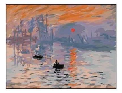 Раскраска по номерам Клод Моне Впечатление Восходящее солнце Рыжий кот