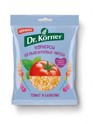 Чипсы Dr.Korner цельнозерновые кукурузно-рисовые с томатом и базиликом 50 г