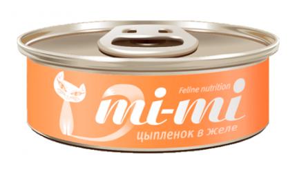 Консервы для кошек и котят Mi-mi, с цыпленком, 80г, 24шт
