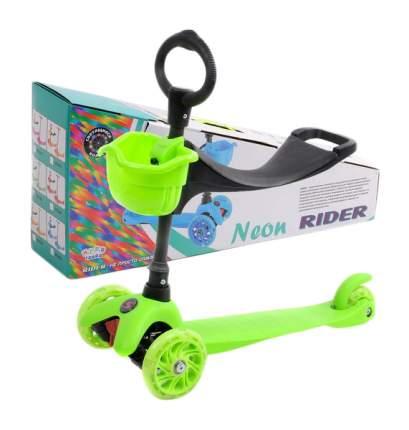 Самокат-кикборд Neon Rider Slider (светятся колеса), зеленый Slider