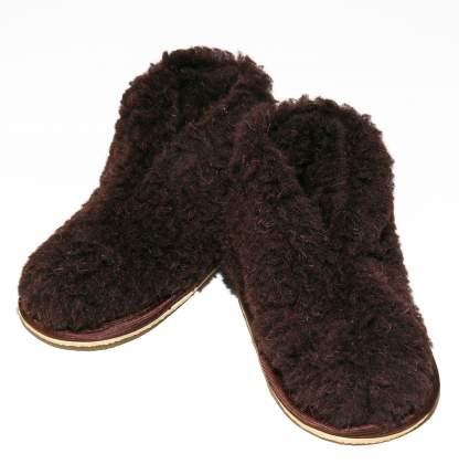 Бабуши Smart-Textile из овечьего меха на трикотажной основе коричневые, размеры 24-25