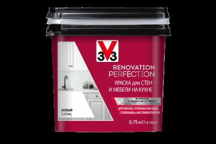 Краска V33 для стен и мебели на кухне RENOVATION Цвет белый