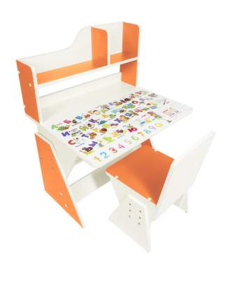 Парта Я сам Детская растущая парта и стул Первое место Бело-оранжевый / Рисунок