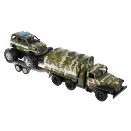 Набор машин Технопарк Урал грузовик с тентом 12см и УАЗ Patriot 7см