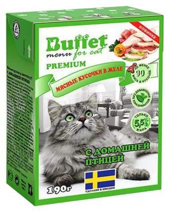 Влажный корм для кошек BUFFET мясные кусочки в желе с домашней птицей, 190г