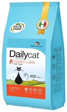Сухой корм для кошек Dailycat Senior, для пожилых, индейка с рисом, 0,4кг