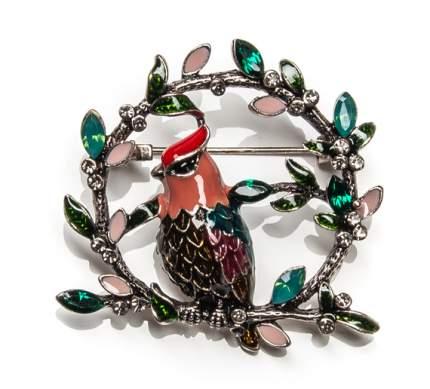 Брошь Moon Paris птичка на ветке с кристаллами и стразами (изумрудный)