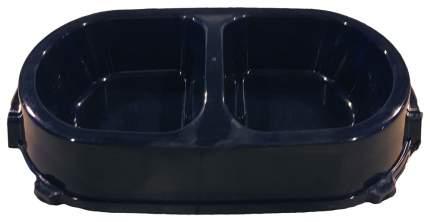 Двойная миска для кошек и собак FAVORITE, пластик, черный, 2 шт по 0.225 л