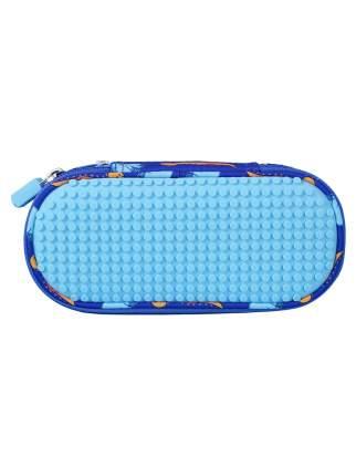 Пенал школьный пиксельный Super class pencil case WY-B012 с динозаврами синий