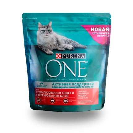 Сухой корм для кошек ONE, для стерилизованных, лосось, пшеница, 1,5кг