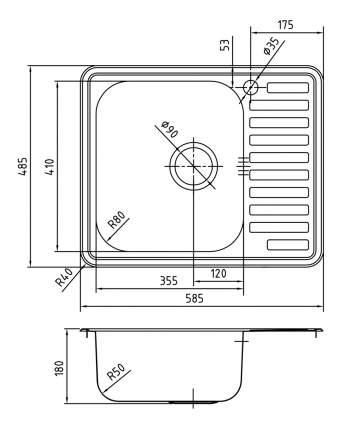 Мойка для кухни из нержавеющей стали IDDIS Strit STR58SLi77