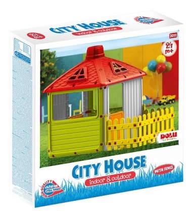 Игровой домик Dolu для улицы Городской дом с ограждением зеленый
