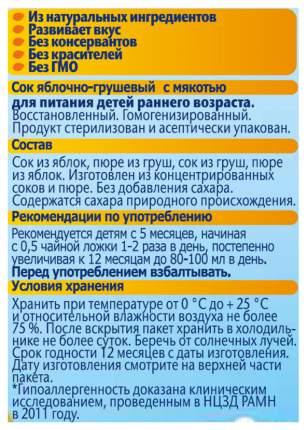 Сок ФрутоНяня Яблоко и груша с мякотью с 5 мес 200 мл