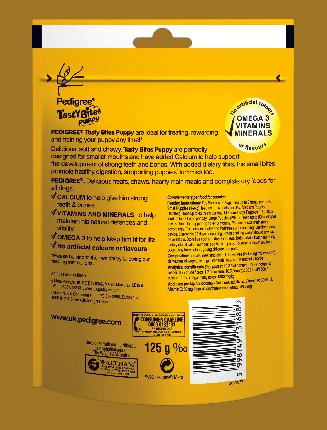 Лакомство для щенков Pedigree Tasty Bites Puppy, кусочки, курица, 125г