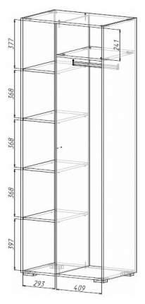 Платяной шкаф МФ Мелания MEL_2003 199,5х76,6х50, бетон чикаго/дуб вотан