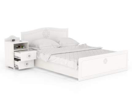 Кровать с тумбой прикроватной Мебельный Двор Онега КР-1400+ТП-2 белый 193х204х84