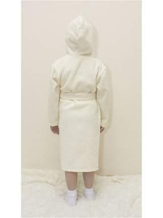 Халат Осьминожка с капюшоном махровый детский молочный 128 размер