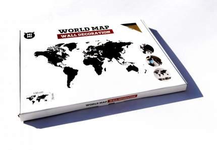 Деревянная карта мира Mimi Wall Decoration Brown 130x78 cm, коричневый