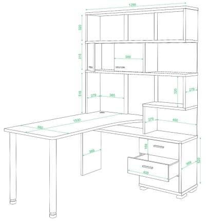 Компьютерный стол Мэрдэс СР-420/150 130x150x199, белый жемчуг/карамель