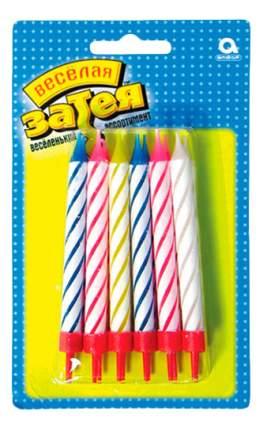 Веселая затея 1502-0182 свечи д/торта с подставкой 8,5 см 12 шт/a