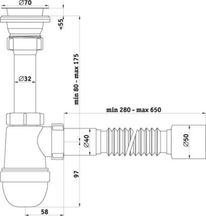 Сифон для кухонной мойки АНИ пласт С0110